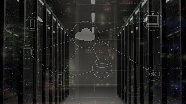 Network Server with Cloud Diagram Overlay